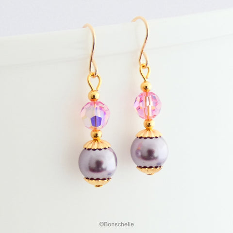 lavender and pink swarovski crystal pearl and bead earrings 1