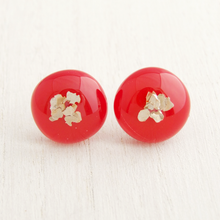 Load image into Gallery viewer, Red fused glass cabochon stud earrings with sterling silver posts and backs