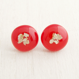 Red fused glass cabochon stud earrings with sterling silver posts and backs