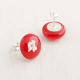Red fused glass cabochon stud earrings with sterling silver posts and backs-2