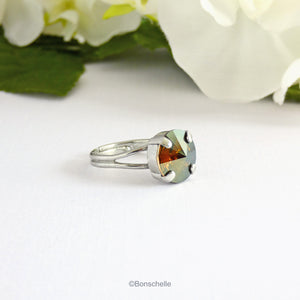 silver toned solitaire ring for women with a deep bronze Swarovksi crystal stone.
