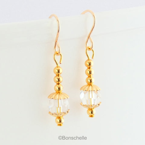 swarovski clear crystal and gold beaded drop earrings 1
