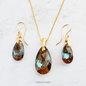 Bronze Swarovski Crystal Teardrop Necklace and Earrings Set