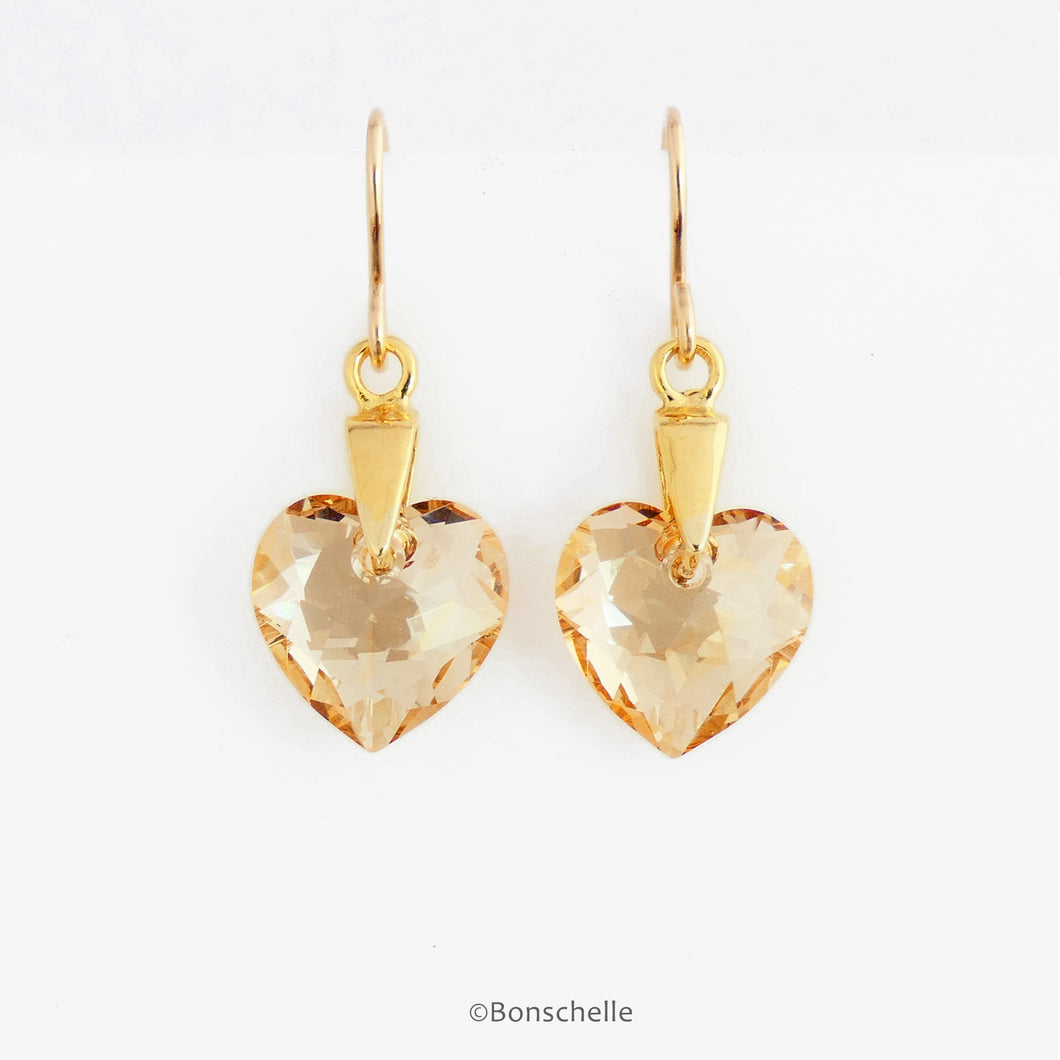 Hanging Handmade earrings with pale golden bronze toned Swarovski crystal heart earrings and 14K gold filled earwires
