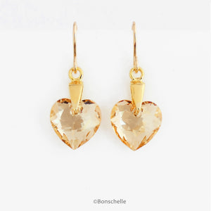 Handmade earrings with pale golden bronze toned Swarovski crystal heart earrings and 14K gold filled earwires