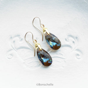 Handmade Bronze toned Swarovksi cut glass crystal teadrop shape earrings with 14K gold filled earwires and gold plated sterling silver components
