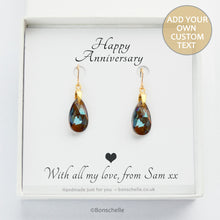 Load image into Gallery viewer, Handmade Bronze toned Swarovksi cut glass crystal teadrop shape earrings with a personalisable gift message in a jewellery box