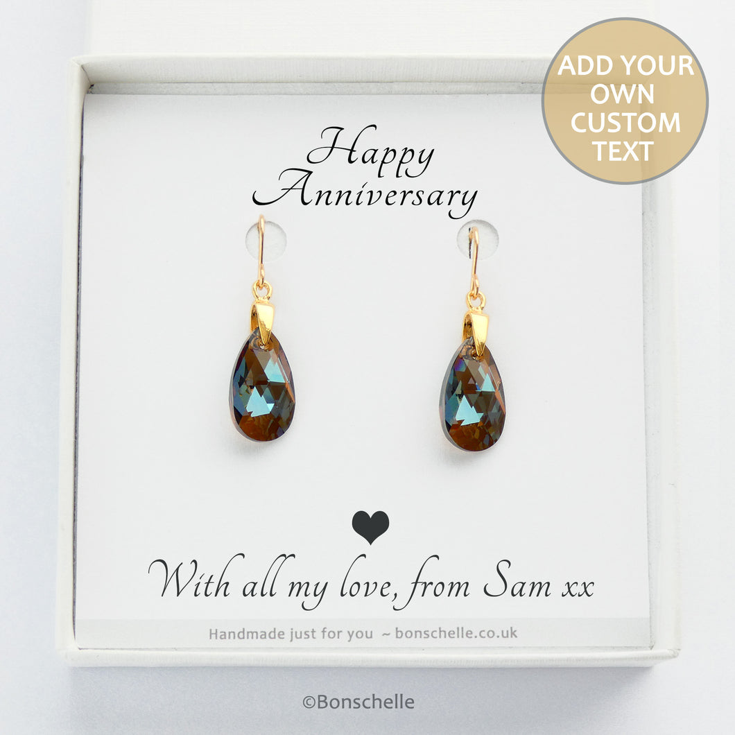 Handmade Bronze toned Swarovksi cut glass crystal teadrop shape earrings with a personalisable gift message in a jewellery box