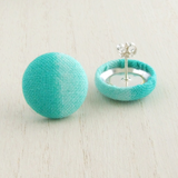 teal green two tone fabric and sterling silver stud earrings for women