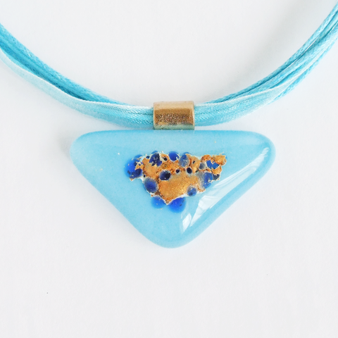 Contemporary blue fused glass triangle pendant necklace