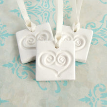 Load image into Gallery viewer, 3 square white clay gift tag ornament favors with heart imprint and satin ribbon