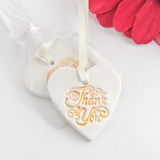 White and Gold Clay heart 'Thank You' gift ornament keepsake or gift wrap tag 1