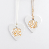 White and Gold Clay heart 'Thank You' gift ornament keepsake or gift wrap tag 2