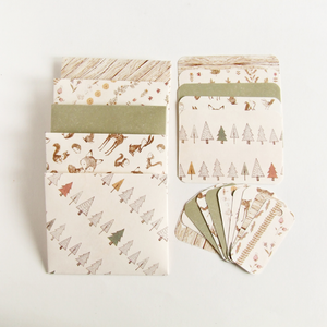 handmade woodland themed envelopes, notecards and gift tags