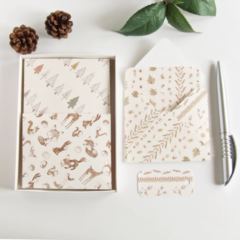 handmade woodland themed boxed stationery gift set