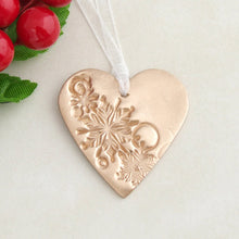 Load image into Gallery viewer, Handmade bronze metal heart shaped Christmas decoration ornament 1
