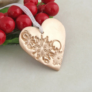Handmade bronze metal heart shaped Christmas decoration ornament 2