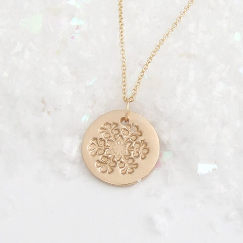 Small Bronze Snowflake Pendant Necklace