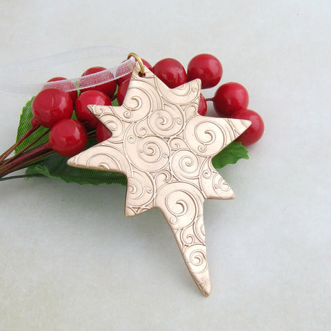 Bronze metal Christmas star hanging decoration for Xmas tree