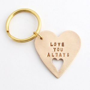 handmade polished bronze heart shaped sentiment keychain with words Love You Always 2