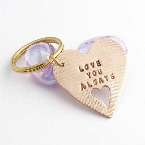 Handmade bronze heart shaped sentiment keyring with the words Love You Always