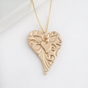 Handmade bronze two layered heart pendant necklace for women 1
