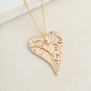 Handmade bronze two layered heart pendant necklace for women 2