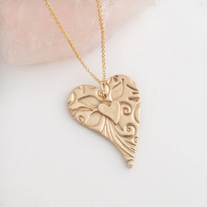 Handmade bronze two layered heart pendant necklace for women 3