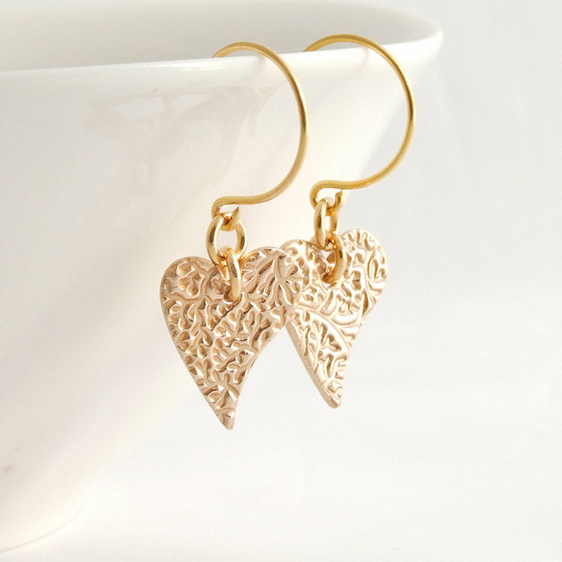 Polished bronze vine textured heart shaped earrings for women 1