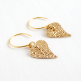 Polished bronze vine textured heart shaped earrings for women 2
