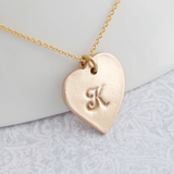 Polished gold bronze heart shaped intial pendant necklace for women