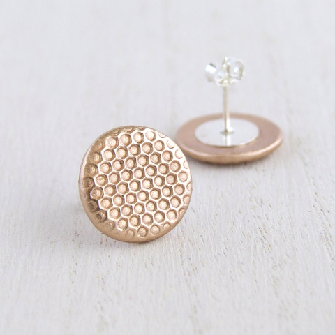 honeycomb patterned stud earrings for women in gold bronze and sterling silver