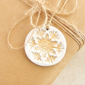 Round White and Gold Clay Christmas Ornaments, Set of 3