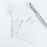 Handmade floral gift envelope with white notecard by Bonschelle