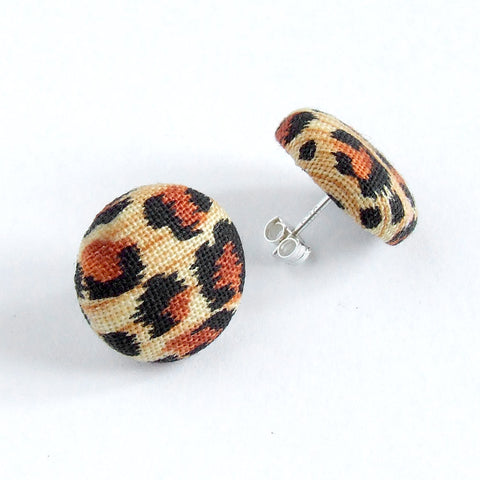 handmade modern leopard print and sterling silver stud earrings 1