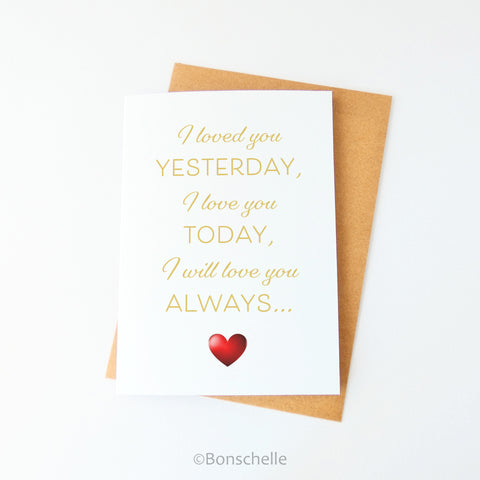 Love you always romantic sentiment blank inside greeting card with a red heart
