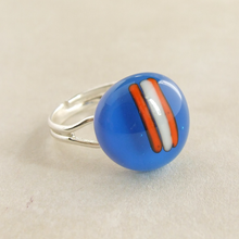 Load image into Gallery viewer, contemporary adjustable handmade artisan blue fused glass cabochon ring for women