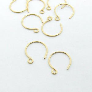 Handmade 24ct gold plated round earring finding earwires UK supplier