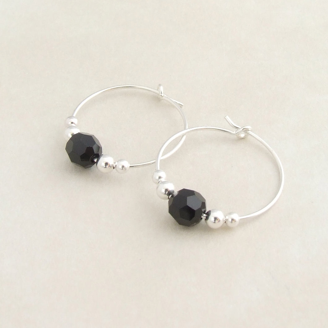 handmade sterling silver and black swarovski crystal hoop earrings 1