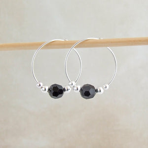 handmade sterling silver and black swarovski crystal hoop earrings 2