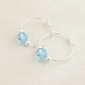 handmade sterling silver and blue swarovski crystal hoop earrings 1