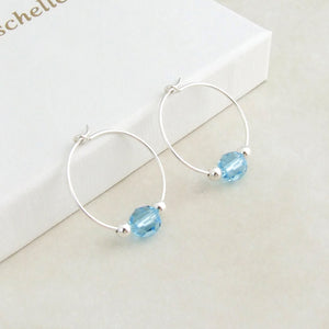 handmade sterling silver and blue swarovski crystal hoop earrings 2