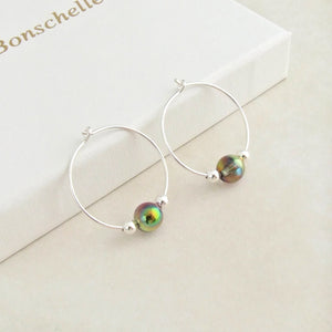 Sterling silver and iridescent glass bead hoop earrings for women 2