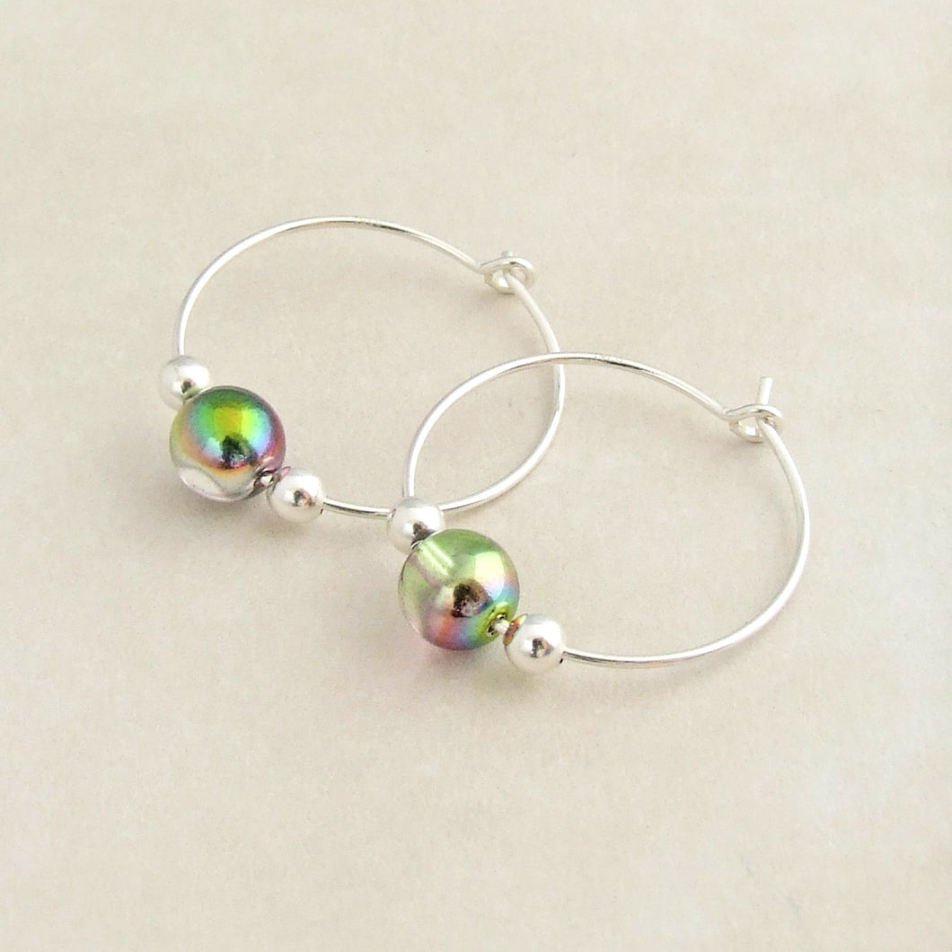Sterling silver and iridescent glass bead hoop earrings for women 1