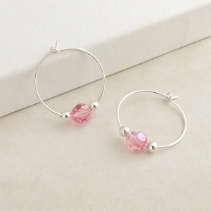 handmade sterling silver and pink swarovski crystal hoop earrings 3