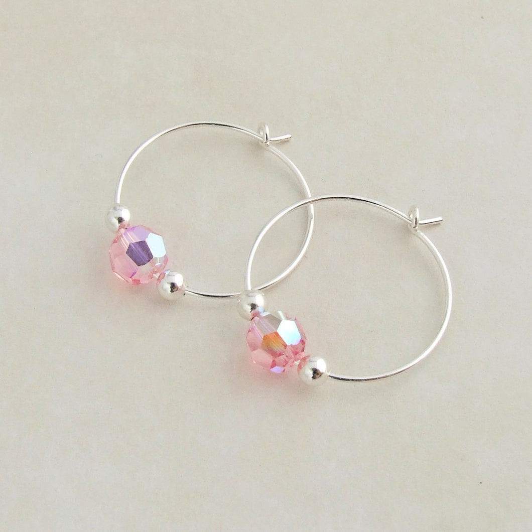 handmade sterling silver and pink swarovski crystal hoop earrings 1
