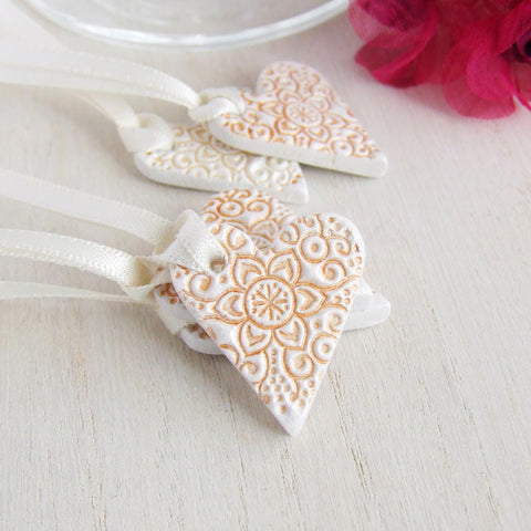 5 handmade mini patterned clay heart tags with gold accent and satin ribbon