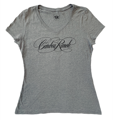 Caribou Ranch Ladies Perfect Blend V-Neck Tee - Grey Frost