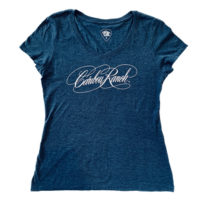Caribou Ranch Ladies Perfect Blend V-Neck Tee - Navy Frost