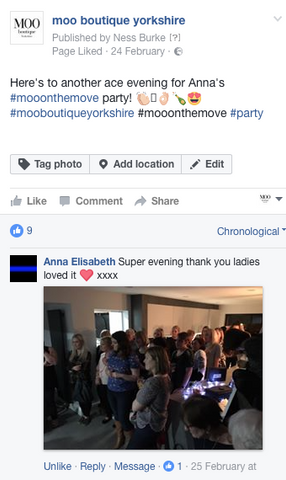 Facebook review left from a customer the day after her Moo on the Move party